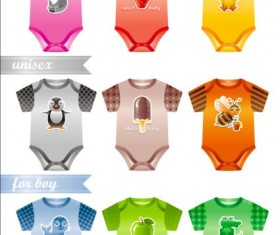 Baby clothes design vector material 02