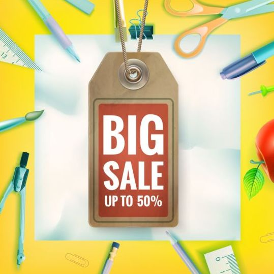 Back to school background with sale tag vector 09