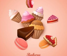 Bakery cake with pink background vector 01