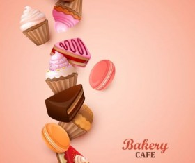 Bakery cake with pink background vector 02