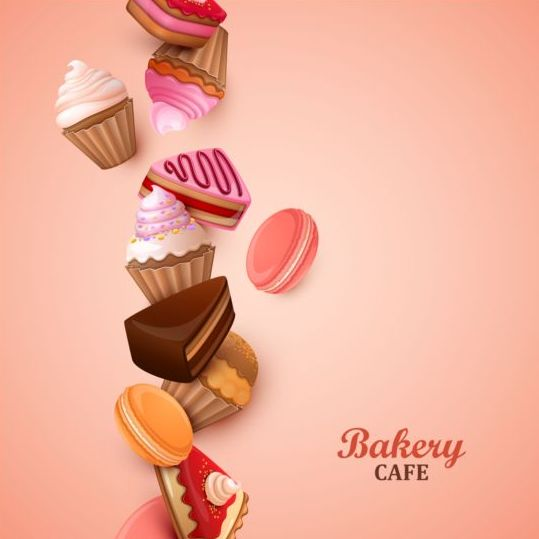 Bakery Cake With Pink Background Vector 02 Free Download