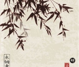 Bamboo chinese wash painting vector 01
