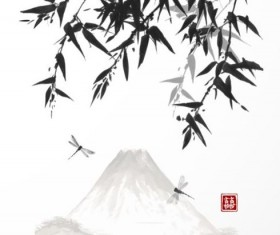 Bamboo chinese wash painting vector 02