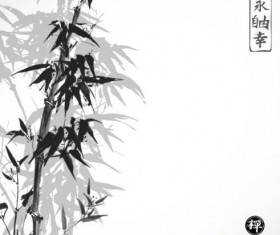 Bamboo chinese wash painting vector 04