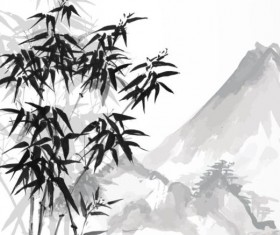 Bamboo chinese wash painting vector 06