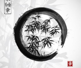 Bamboo chinese wash painting vector 07