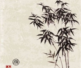 Bamboo chinese wash painting vector 08