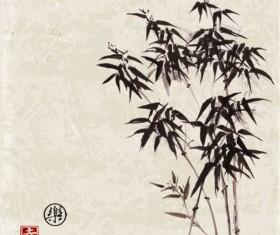 Bamboo chinese wash painting vector 08