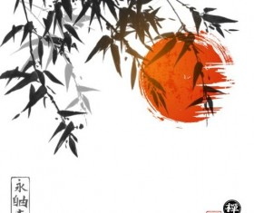 Bamboo chinese wash painting vector 09