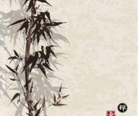 Bamboo chinese wash painting vector 10