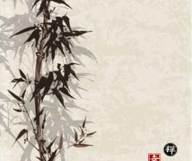 Bamboo chinese wash painting vector 10