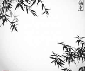 Bamboo chinese wash painting vector 11
