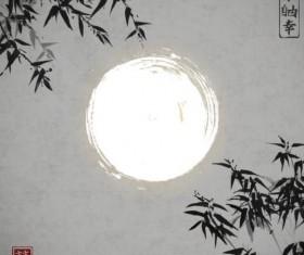 Bamboo chinese wash painting vector 12