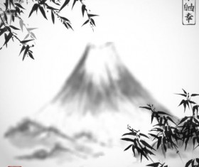 Bamboo chinese wash painting vector 13