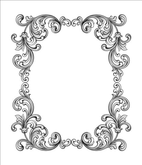 Baroque scroll frame vector free download