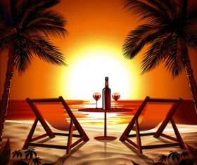 Beach sunset background with wine vector