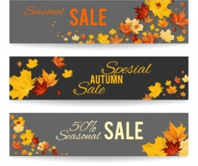 Beautiful autumn banners vector set