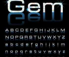 Beautiful gems number with alphabet vector