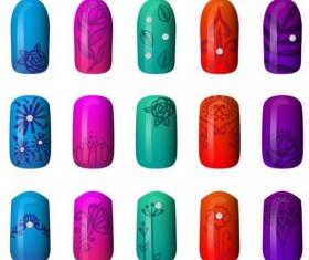 Beautiful painted nails vectors set 04