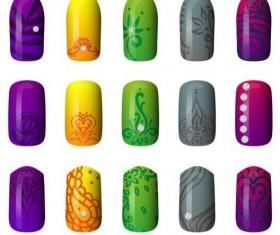 Beautiful painted nails vectors set 05