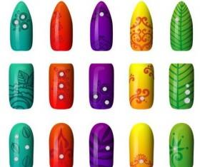 Beautiful painted nails vectors set 06