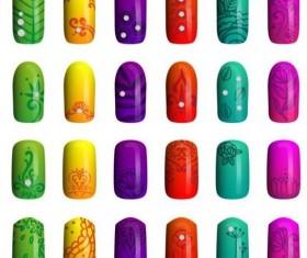 Beautiful painted nails vectors set 07