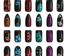 Beautiful painted nails vectors set 09