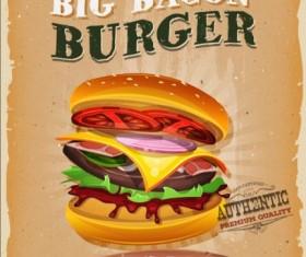 Big burger vintage poster vector 01