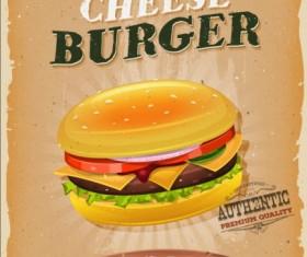 Big burger vintage poster vector 02