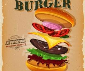 Big burger vintage poster vector 03