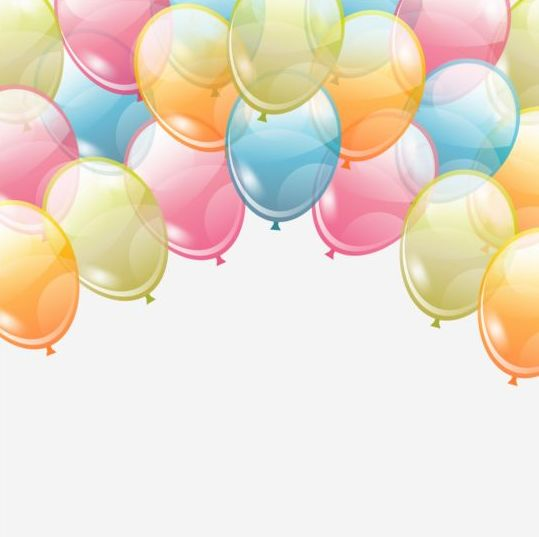 Birthday Background With Colored Transparent Balloons Vector 04 Free Download The clip art image is transparent background and png format which can be easily used for any free creative project. colored transparent balloons vector 04