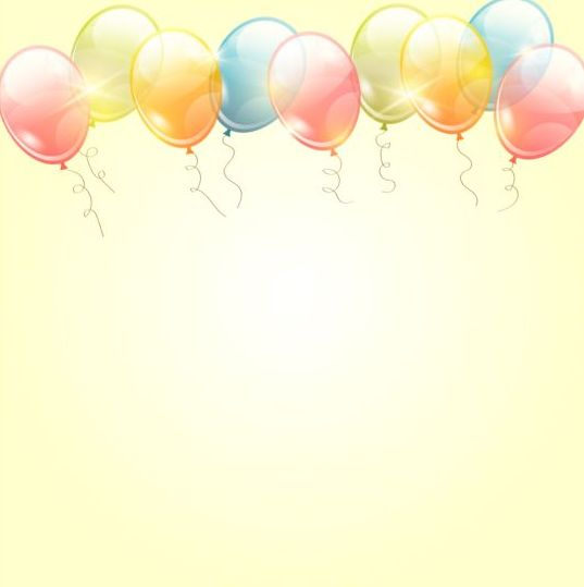 Birthday background with colored transparent balloons ...