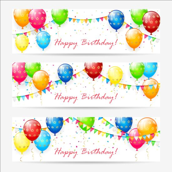 Birthday Banner With Balloons And Confetti Vector