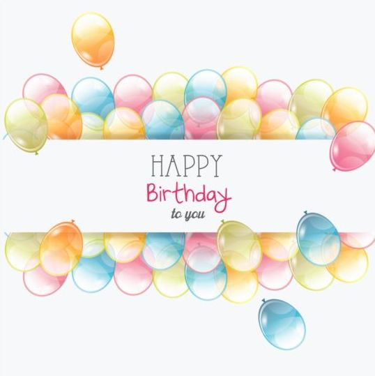 Birthday card with transparent balloons vector 03 Vector – Birthday Cards Balloons