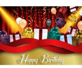 Birthday gift with balloon and confetti cards vector