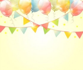 Birthday pennants background with colored balloon vector