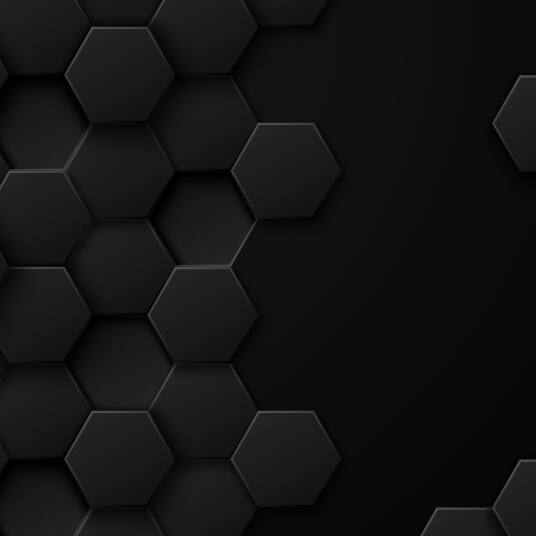 Black background with hexagon vector