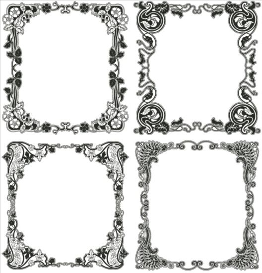 Black floral frame vector material 01 free download