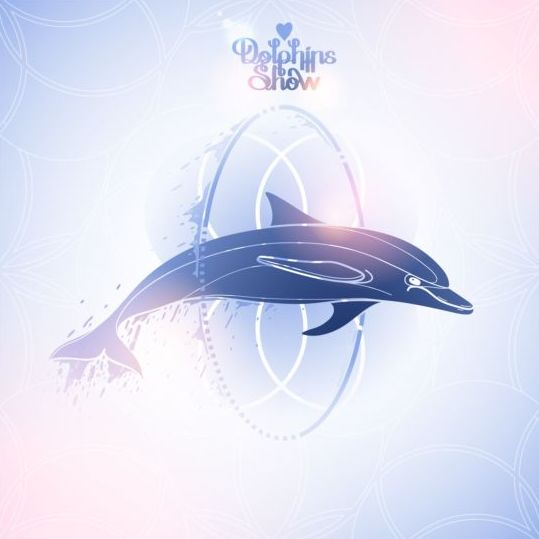Blue dolphin with summer background vector 02 - Vector Animal, Vector ...