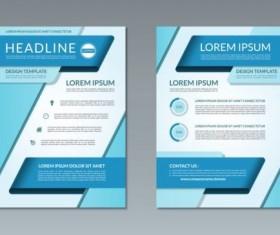 Blue modern brochure flyer cover vector set 04