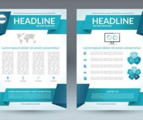 Blue modern brochure flyer cover vector set 05