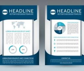 Blue modern brochure flyer cover vector set 06