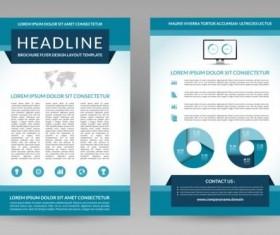 Blue modern brochure flyer cover vector set 07
