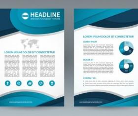 Blue modern brochure flyer cover vector set 08