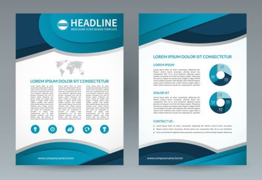 Blue Modern Brochure Flyer Cover Vector Set 08 Vector