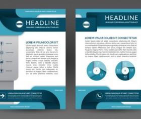 Blue modern brochure flyer cover vector set 09