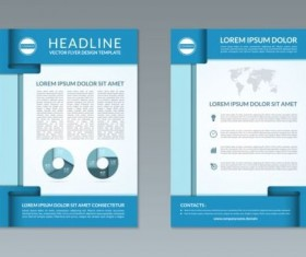 Blue modern brochure flyer cover vector set 10