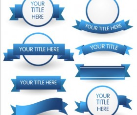 Blue ribbon and labels vector