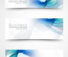 Business banner with blue abstract vector 01