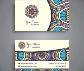 Business card with ethnic pattern vector set 07